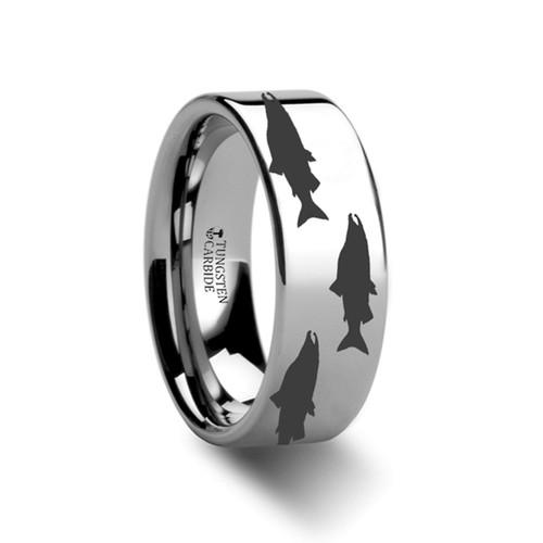 Alhred Salmon Pattern Engraved Tungsten Wedding Band