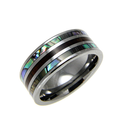 Men's Tungsten Band with Koa Wood Inlay & Abalone Shell