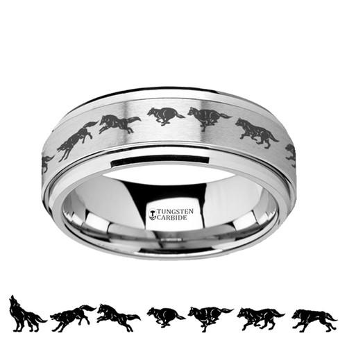 Guildford Running Wolf Spinning Tungsten Carbide Wedding Band