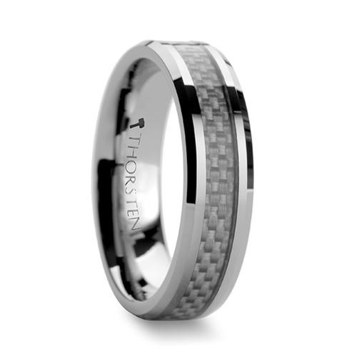 Euphemus Tungsten Carbide Wedding Band with White Carbon Fiber Inlay