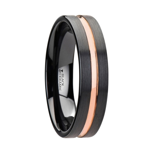 Saxons Black Ceramic Wedding Band With Rose Gold Groove