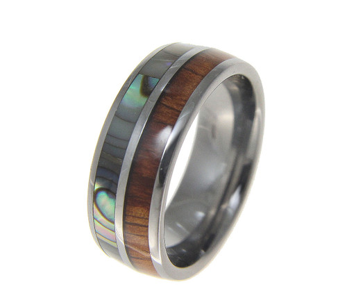 Men's Tungsten Wedding Band with Hawaiian Koa Wood & Abalone Shell Inlay