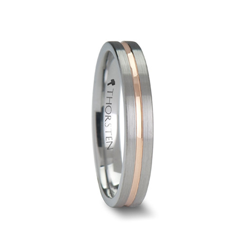 Leopold Brushed Tungsten Carbide Wedding Band with Rose Gold Plated Groove