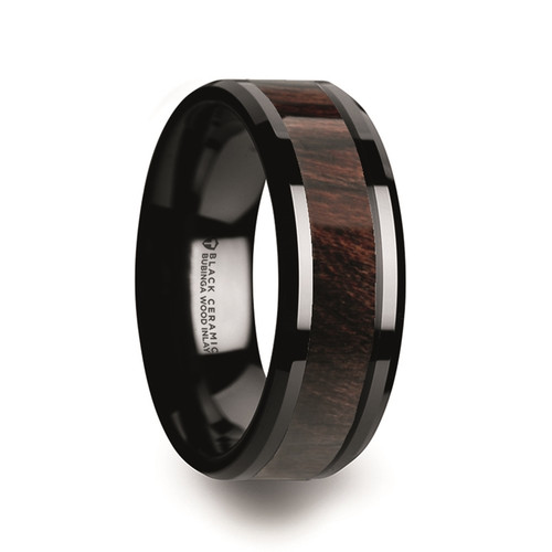 Clidicus Black Ceramic Men's Wedding Band with Bubinga Wood Inlay