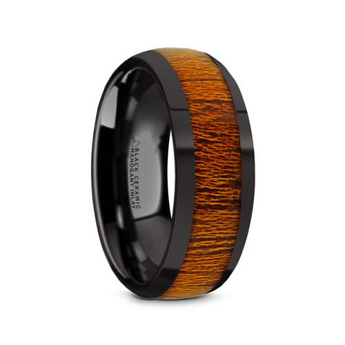 Anton Black Ceramic Men's Domed Wedding Band with Mahogany Wood Inlay