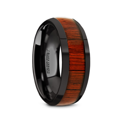 Madeleine Black Ceramic Men's Domed Wedding Band with Padauk Wood Inlay