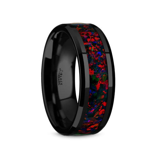 Euthynos Black Ceramic Men's Domed Wedding Band with Black Opal Inlay