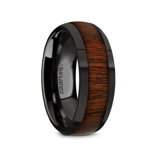 Andrea Black Ceramic Domed Men's Wedding Band with Rose Wood Inlay