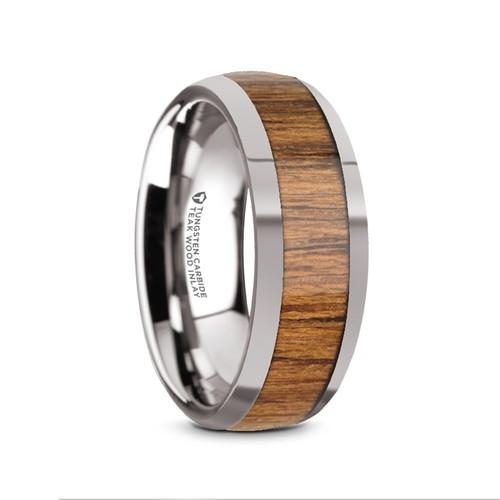 Ariston Domed Tungsten Carbide Men's Wedding Band with Teak Wood Inlay