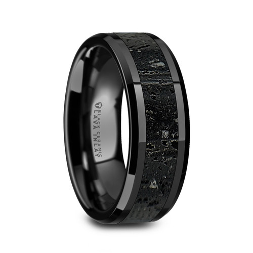 Archias Men's Black Ceramic Wedding Band with Black & Gray Lava Rock Stone Inlay