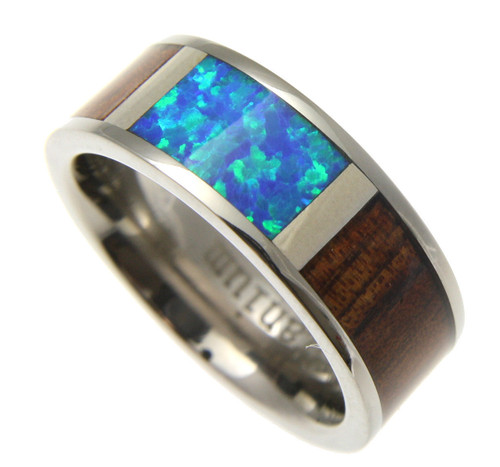 Men's Titanium Band with Blue Opal Center & Koa Wood Inlay