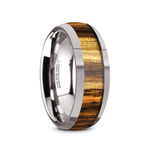 Guglielmo Tungsten Carbide Men's Domed Wedding Band with Zebra Wood Inlay