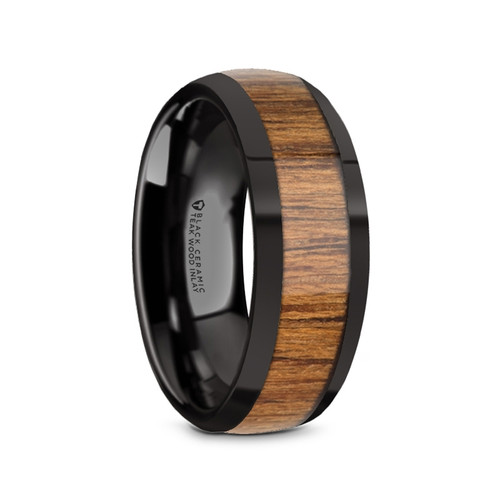 Johannes Black Ceramic Men's Domed Wedding Band with Teak Wood Inlay