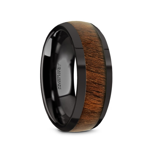 Joseph Black Ceramic Men's Domed Wedding Band with Black Walnut Inlay