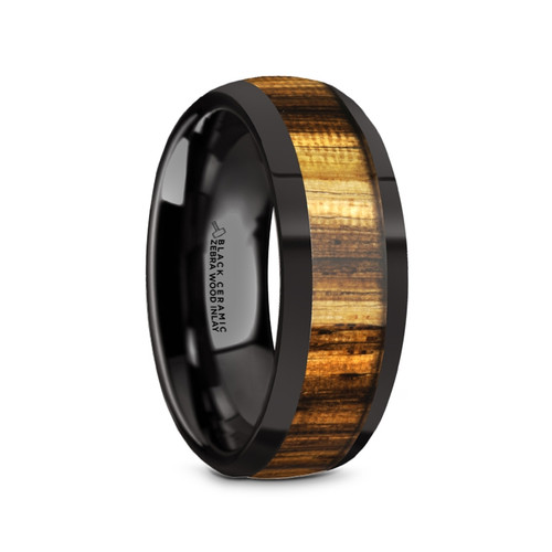 Egbert Black Ceramic Men's Domed Wedding Band with Zebra Wood Inlay