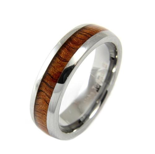 Tungsten Wedding Band with Hawaiian Koa Wood Inlay