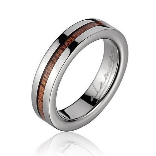 Men's Titanium Wedding Band with Hawaiian Koa Wood Inlay