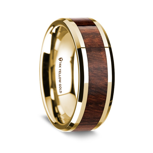 Men's 14k Yellow Gold Wedding Band with Carpathian Wood Inlay