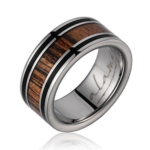 Men's Titanium Wedding Band with Ebony Gabon & Bocote Wood Inlay