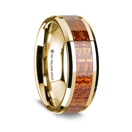 Men's 14k Yellow Gold Wedding Band with Mahogany Wood Inlay