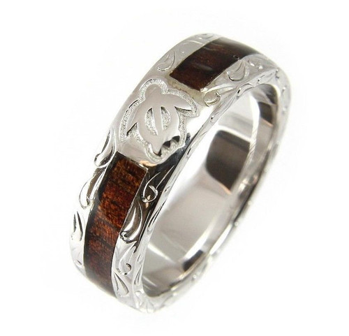 925 Silver Men's Wedding Band with Honu Turtle & Hawaiian Koa Wood