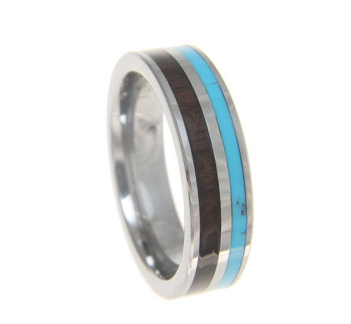 Turquoise Tungsten Wedding Band with Koa Wood Inlay