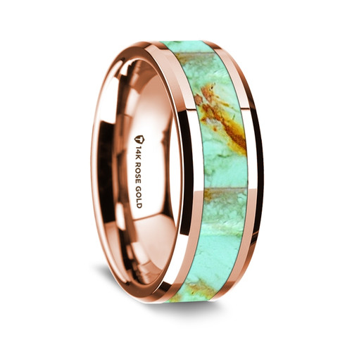 Men's Rose Gold Wedding Band with Turquoise Stone Inlay