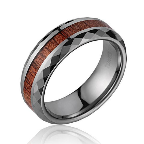 Diamond Faceted Men's Tungsten Wedding Band with Koa Wood Inlay