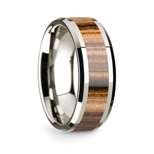 Men's 14k White Gold Wedding Band with Zebra Wood Inlay