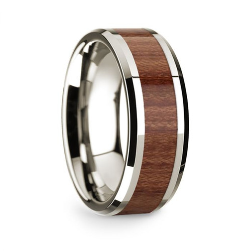 Men's 14k White Gold Wedding Band with Rosewood Inlay