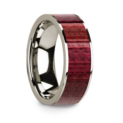 Men's 14k White Gold Wedding Band with Purpleheart Wood Inlay