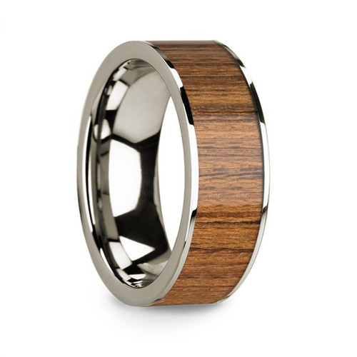 Men's 14k White Gold Wedding Band with Teak Wood Inlay
