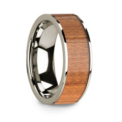Men's 14k White Gold Wedding Band with Sapele Wood Inlay