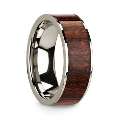 Men's 14k White Gold Wedding Band with Carpathian Wood Inlay