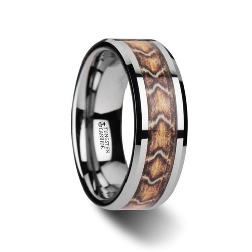 Abba Men's Tungsten Wedding Band with Sanskrit Stone Inlay