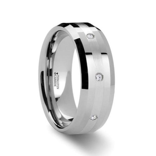 Newport Men's Tungsten Diamond Wedding Band with Platinum Inlay