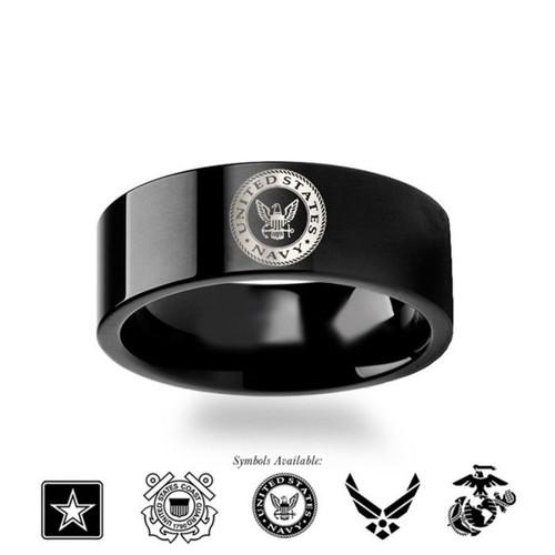 Air Force Symbol Men's Black Tungsten Wedding Band