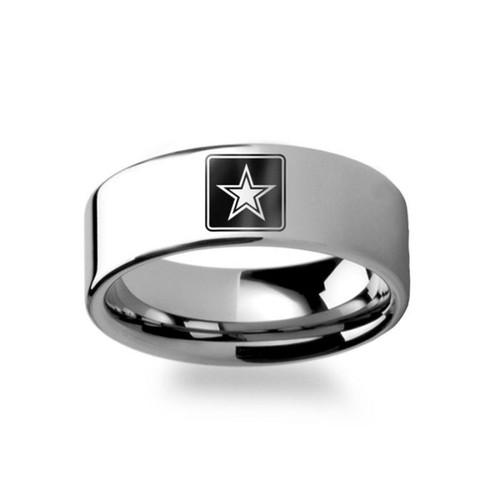 Air Force Symbol Men's Tungsten Wedding Band