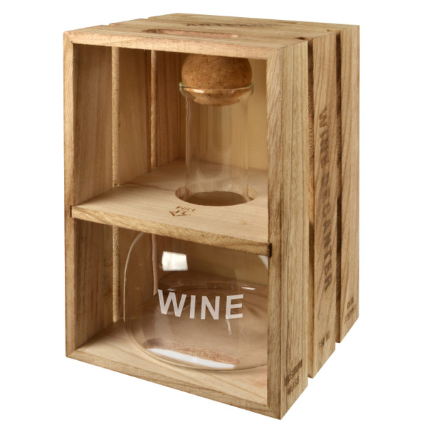 Wine Decanter with Wood Crate Box