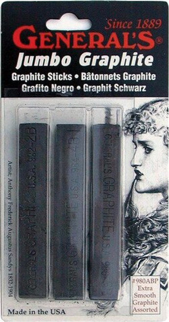 General's Jumbo Compressed Graphite Stick - 3pk
