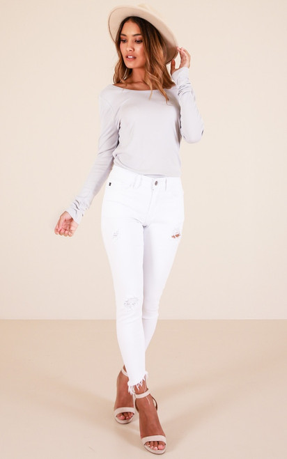 Kancan White Distressed Skinny Jeans
