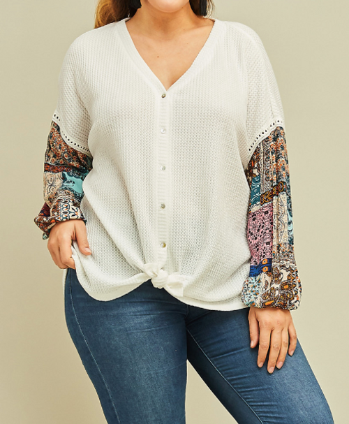 Promise You Pattern Sleeve Plus Top
