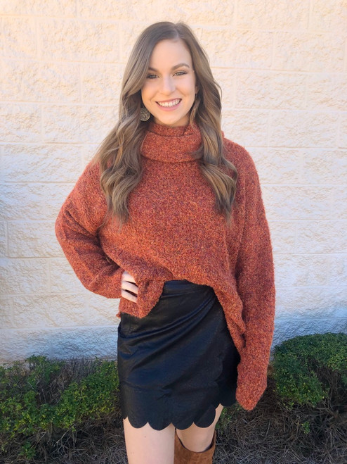 Rust Turtleneck Sweater