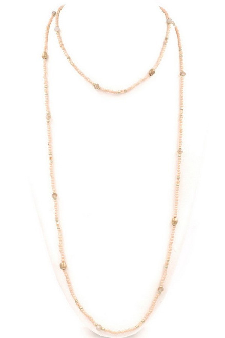 Peach Beaded Wrap Necklace