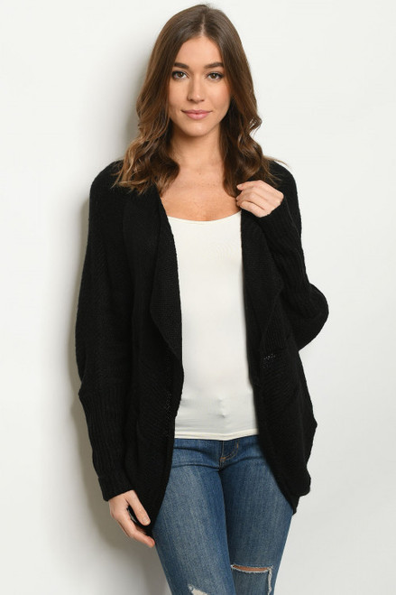 Black Knit Plus Size Cardigan