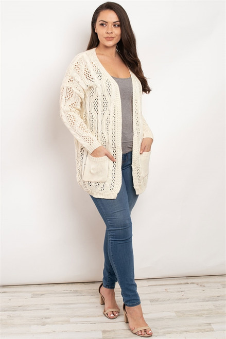 Cream Knit Plus Cardigan