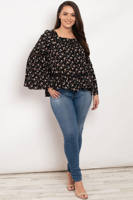 Black Floral Plus Top