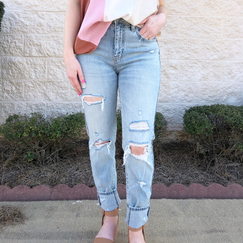 London Light Wash Distressed Mom Jeans
