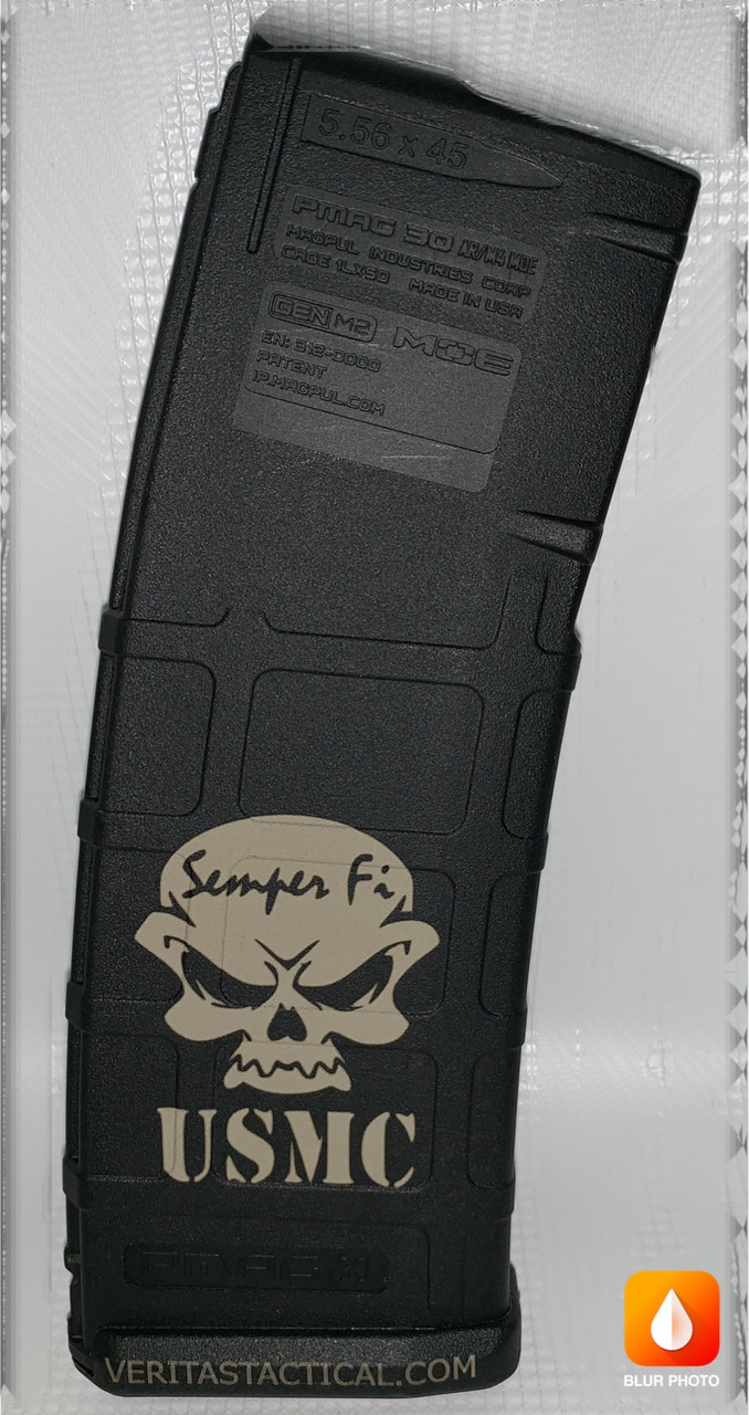 Laser Engraved USMC Skull Magazine