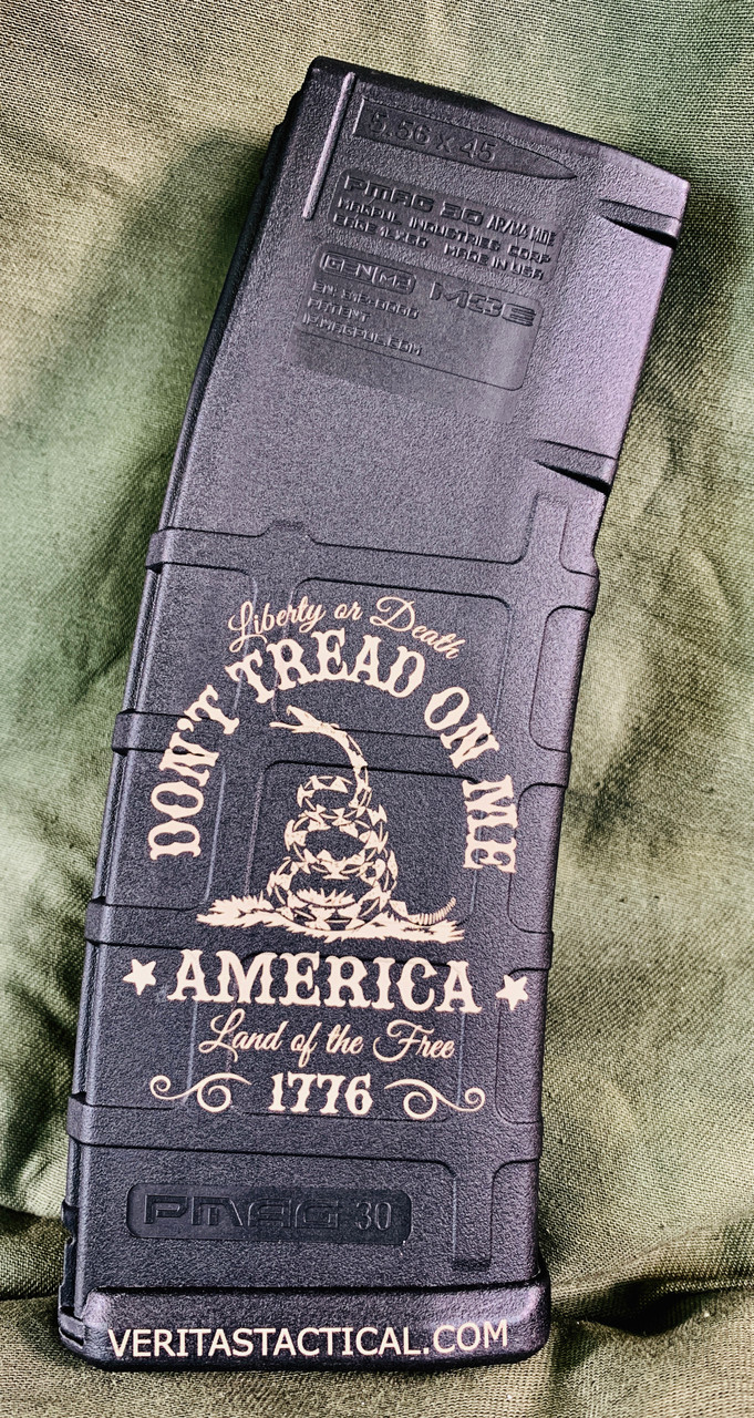 Don't Tread on Me / Liberty or Death Laser Engraved Magazine